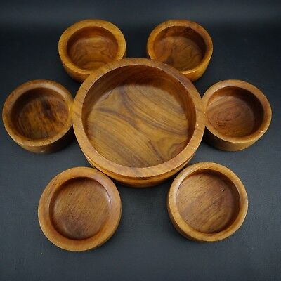 "Vintage Kalmar Teak Wood Salad Bowl 7 Piece Set Set Large 10"" Bowl Made Thailand"