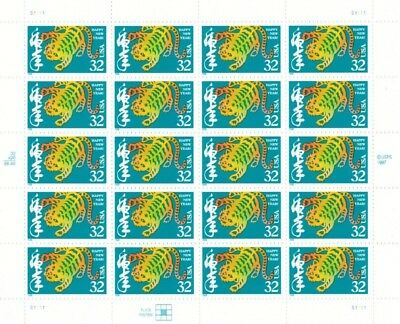 Chinese New Year Year of the Tiger 32c Sheet Pane 20 Mint NH 3179 Free Shipping