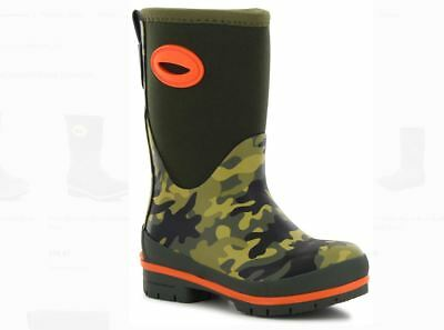 Boy's Youth's WESTERN CHIEF NEO CAMO Olive Green Neoprene Rain Boots Size 2