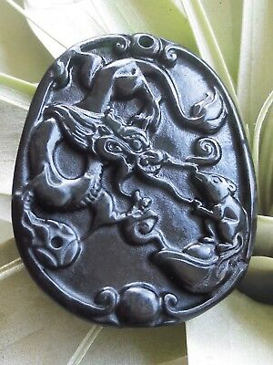 Emerald Black JADE Jadeite Pendant Amulet DRAGON RAT Power & Prosperity
