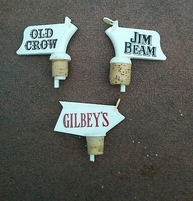Lot 3 Vintage PLASTIC Liquor BOTTLE POUR SPOUTS Brand Old Crow Jim Beam Gilbey's