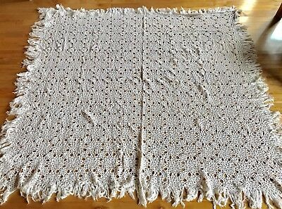 Antique Vintage French Crocheted Cotton Coverlet Handmade