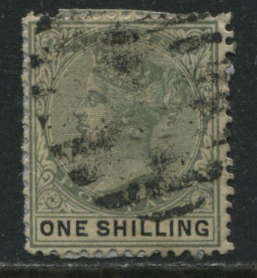 Lagos QV 1887 1/ yellow green & black barred oval used