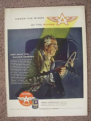 1956 Flying A Veedol Motor Oil Large Full Page Color Ad