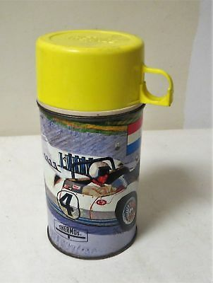 Vintage 1967 AUTO RACE METAL THERMOS FOR THE LUNCHBOX
