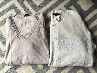 Lot Of 2 Sweaters Banana Republic Express Lace Print Zipper Accent Large Small