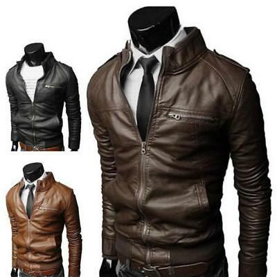 Mens Slim Fit PU Leather Biker Jacket Cool Motorcycle Coat Stand Collar Outwear