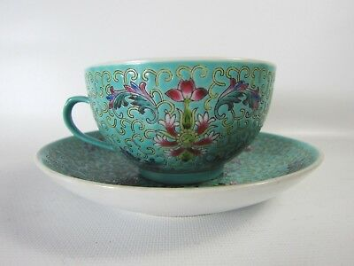 Fine! Set of Chinese Famille Rose Turquoise Porcelain Tea Cup and Sauce 1950's