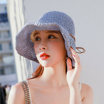 Women Packable Roll Up Wide Brim Sun Shade Beach Hat Gardening Cap Straw MC112