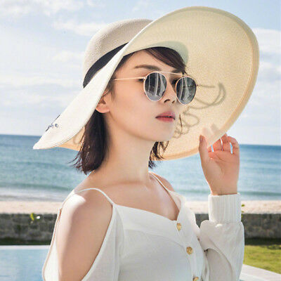 Autumn Summer Womens Packable Wide Brim Sun Shade Beach Hat Gardening Cap MC011