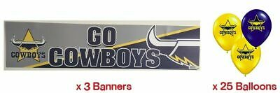 North Queensland Cowboys NRL Party Pack 25 Balloons & 3 Go Cowboys Banners