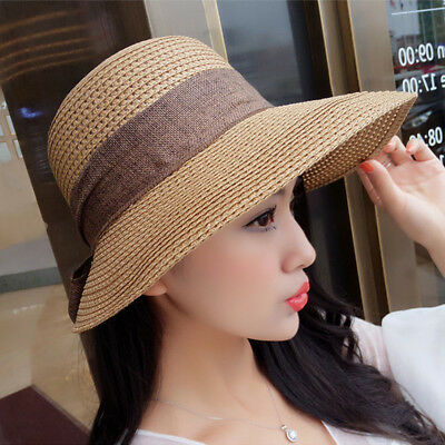 Autumn Summer Womens Packable Wide Brim Sun Shade Beach Hat Gardening Cap MC093