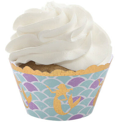 12PCS MERMAID UNDER THE SEA CUPCAKE WRAPPERS TOPPERS BIRTHDAY PARTY FAVOURS Jian