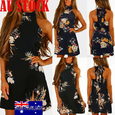 Womens Boho Maxi Floral Halter Neck Backless Dress Summer Evening Party Sundress