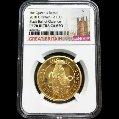 Queen Beasts 2018 Great Britain Black Bull Of Clarence Gold Proof Coin NGC PF 70