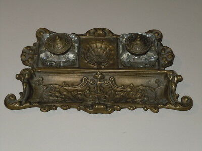 Beautiful Vintage Ornate Heavy Cast Metal Or Brass? Double Inkwell Very Nice