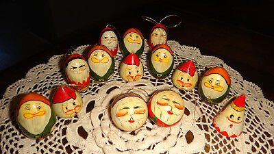 Vintage Santa Claus Wood Ornaments Hand Painted Lot of 14