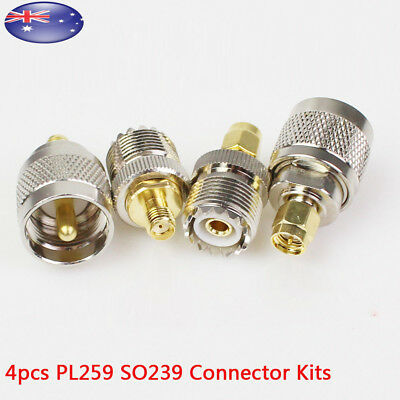 4 Pcs Kit Rf Adapter Coaxial Connector UHF SMA Male Female Pl259 So239 Converter