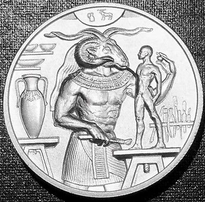 Khnum 2 Oz Ultra High Relief Silver Round - Egyptian Gods Series - .999 Fine Bu