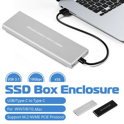 10Gbps NVME NGFF M.2 SSD Hard Disk Case Box Enclosure USB 3.1 Type-c To PCI-E AU