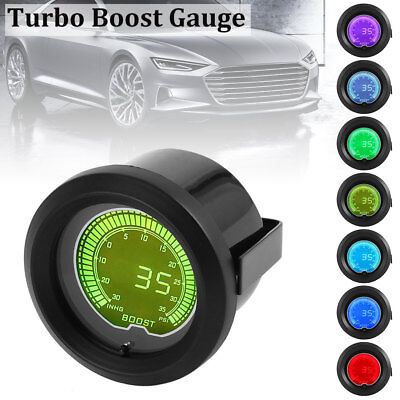 1PCS 12V 52mm 2'' Car 35 PSI Pressure Vacuum Turbo Boost Gauge Meter LED 7 Color