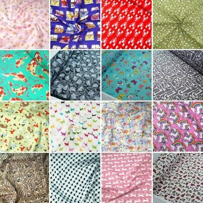 100% Cotton Poplin Fabric Rose & Hubble Vehicles Animals Birds Insects Fish