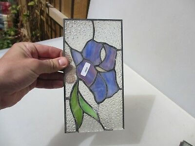 "Stained Glass Window Panel Old Leaded Floral Retro Modern  8.5"" x 4.5"""