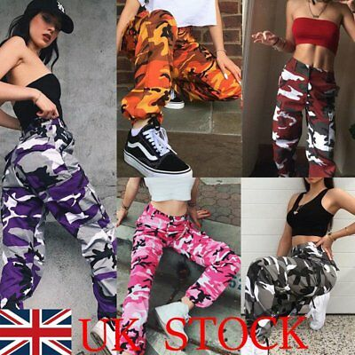 Womens Camo Cargo Trousers Casual Pants Military Army Combat Camouflage Jeans UK
