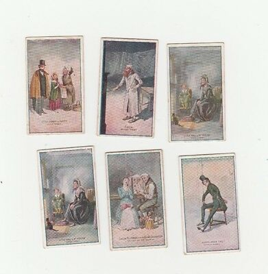 Group of six cigarette cards featuring scenes from Charles Dickens plays