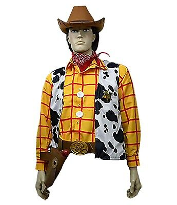 11 Piece Adult Toy Story Woody Cowboy Costume Shirt Vest Hat Buckle Belt Holster