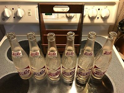 Early 1940's Pepsi Wooden 6 Pack Carrier & 6 12 oz Fountain Syrup Bottles