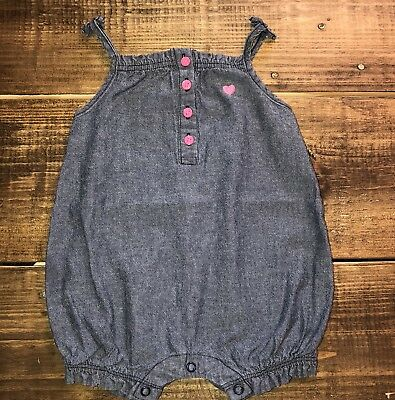 a542383ff57 Girls Carters 9 Months Blue Chambray One Piece Romper Outfit Summer  Sleeveless