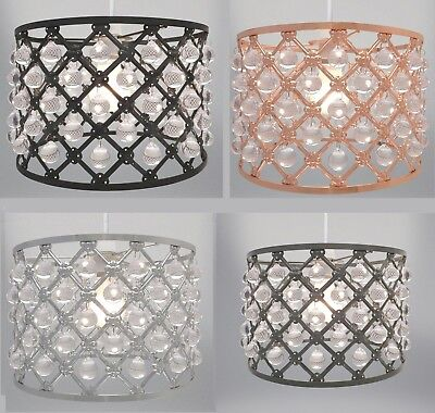Bijou Sparkly Ceiling Pendant Light Shade Easy Fit Lights Acrylic Crystal Beads