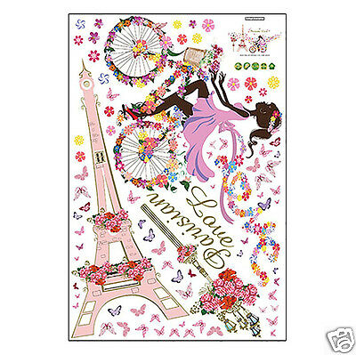 DIY Removable Flower Fairy Eiffel Tower Bicycle Wall Sticker Home Room Decor
