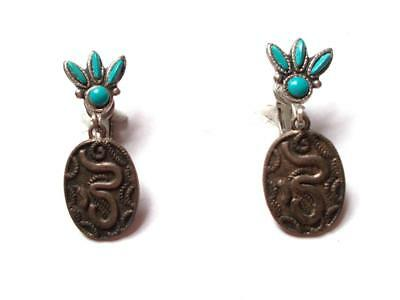 Vintage 1970's Silver Tone Navajo Style Turquoise Blue Stone Clip On Earrings
