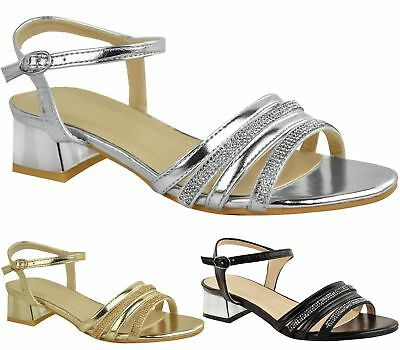 eb5f8df2f5040 Womens Diamante Low Block Heel Ankle Buckle Sandals Peep Toe Prom Party  Shoes