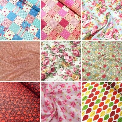 100% Cotton Poplin Fabric Rose & Hubble Roses Poppies Floral Flower Collection