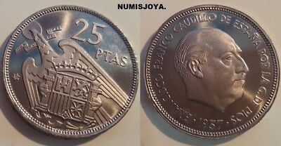 FRANCO. ESCASA moneda de 25 Pesetas PROOF año 1957 en estrella 72.