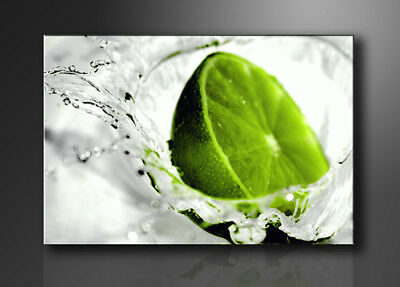 """Pictures XXL art on canvas 76"""" x 31"""" framed art  motive lime green 5131"""