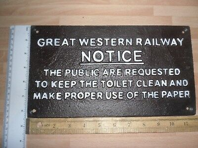 Cast Iron Great Western Railway Plaque