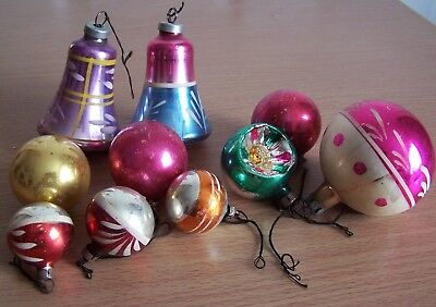 10 glass vintage christmas tree decorations concave bell baubles