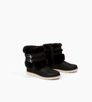Zara Kids Girls Ankle Boot With Faux Fur And Buckles Size 9.5 EUR 27 NWT