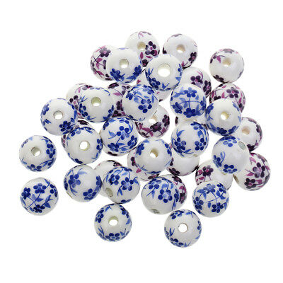 12mm Ceramic Flower Beads Round Jewelry Findings Blue Porcelain Beads 40Pcs