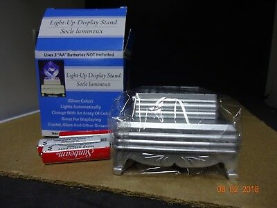 Light Up Display Stand 3D Laser Crystal Glass Ornaments Silver tone w/Batteries