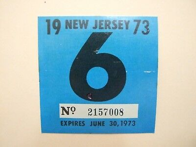 RARE! NEW JERSEY 1973 inspection sticker windshield license plate man's cave car