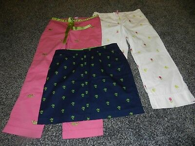 LOT 3 LADIES LILLY PULITZER WHITE PANTS SKIRT LILYPOD PINK CAPRI WHALE LOGOs 6 8
