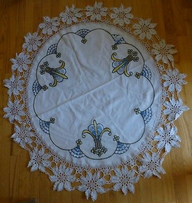 "Arts and Crafts Mission Style Round Hand Embroidered Linen 45"" Crochet Trim"