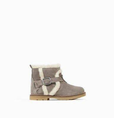 Zara Baby Girls Leather Boots With Detail Grey Size 6 EUR 22 NWT