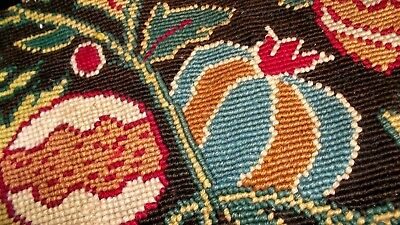 Pair French antique hand made clean needlepoints stylized fruits flowers 1850's