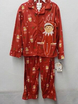 Boys Size 6 Elf On The Shelf Red Christmas Brushed Flannel 2 Pc Pajamas #11101